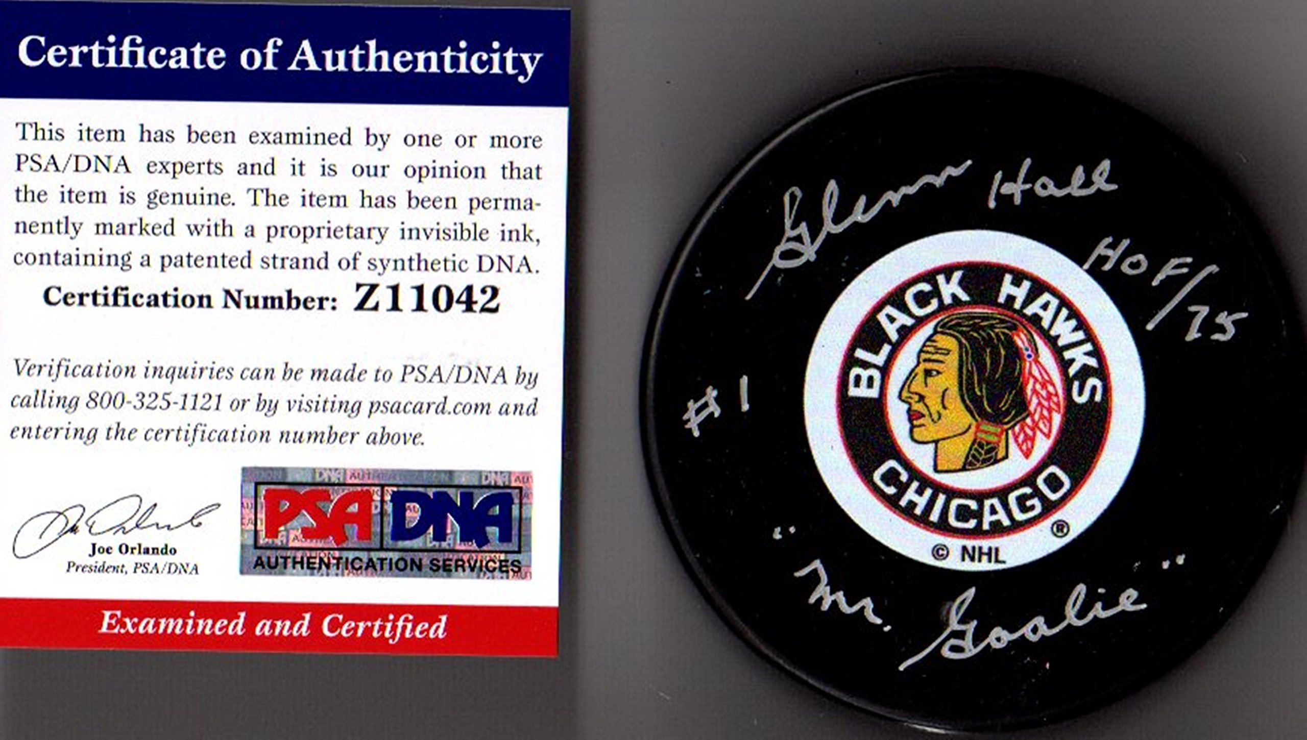 "PSA/DNA Glenn Hall ""HOF 75"" & ""Mr. Goalie"" Autographed Signed Chicago Blackhawks Original Six Logo Puck"