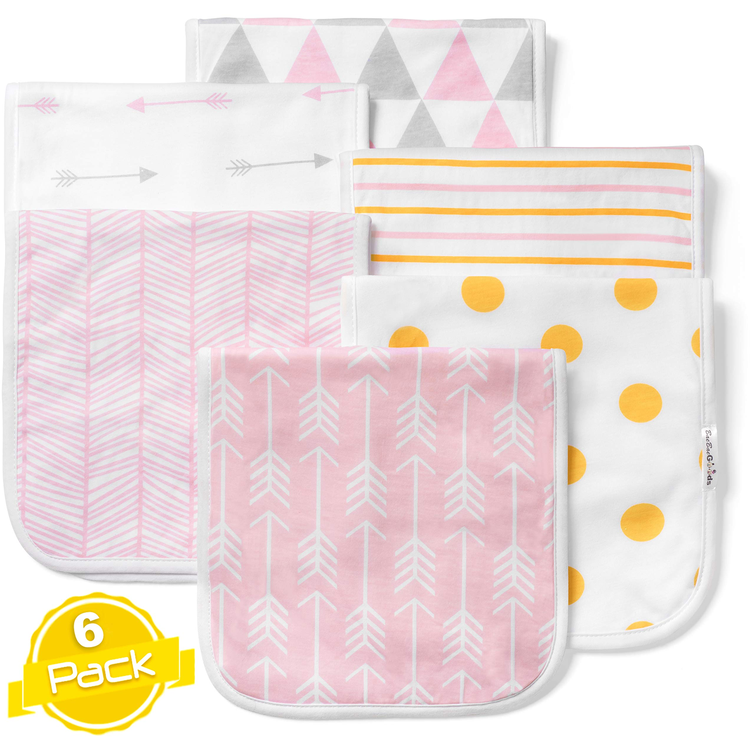 Baby Burp Cloths Set (6 Pack), Super Soft Cotton, Large 21''x10'', Thick, Soft and Absorbent Towels, Burping Rags for Newborns, Baby Shower Gift for Boys and Girls by BaeBae Goods ...