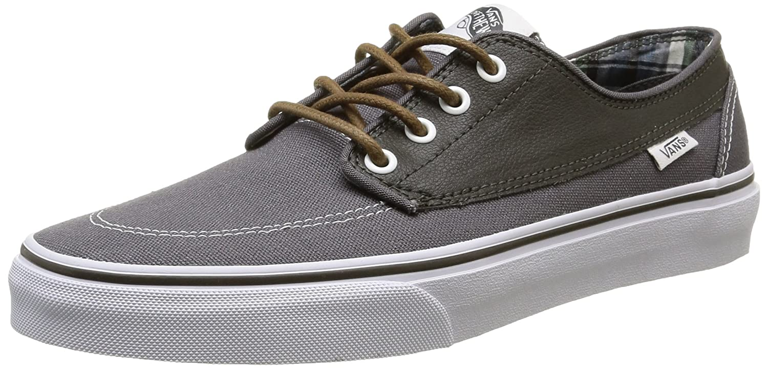 Vans Unisex-Erwachsene Brigata Low-Top  40 EU|Grau (Leather/Plaid/Asphalt/Beluga)