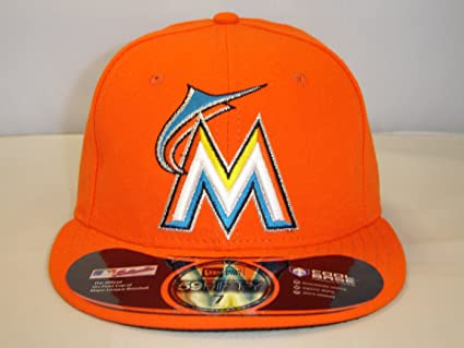 newest collection 031ec 61fdc New Era Miami Marlins MLB Orange Cap 59FIFTY NewEra Select Cap Size  7