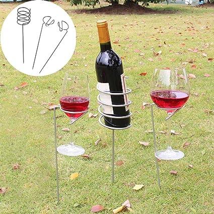 Summit Wine Bottle 2 Glass Holder Ground Stake Camping Garden Festival BBQ Beach