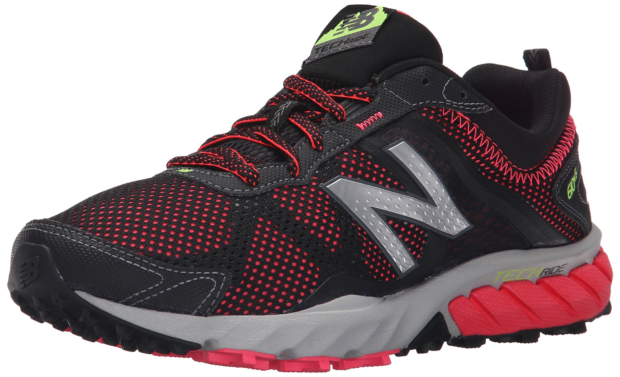 New Balance Women's WT610V5 Trail Shoe, Black/Pink, 8 B US