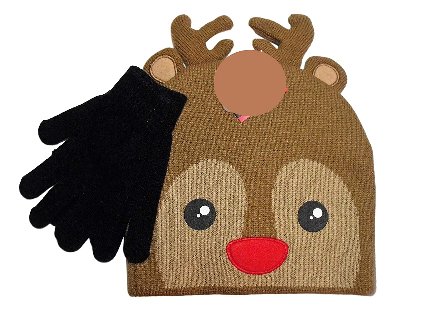 Christmas Rudolph Red Nosed Reindeer Face Knit Beanie Hat Black Gloves Set