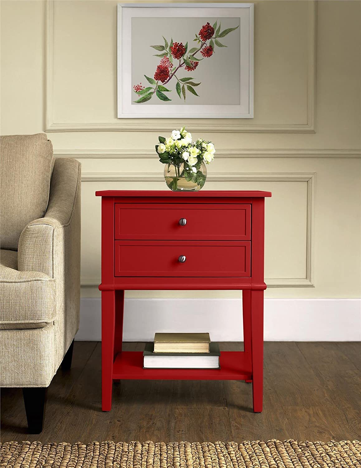 Amazon.com: Ameriwood Home Franklin Accent Table With 2 Drawers, Red:  Kitchen U0026 Dining