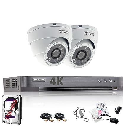 Hikvision DVR CCTV Kit con 4 canales y 2 x Sony cámaras domo 1080p Full HD