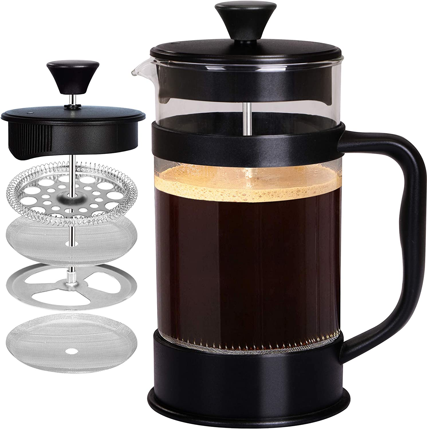 Stainless Steel Cafetiere French Coffee Filter Maker Press Plunger Jug Tea Spoon