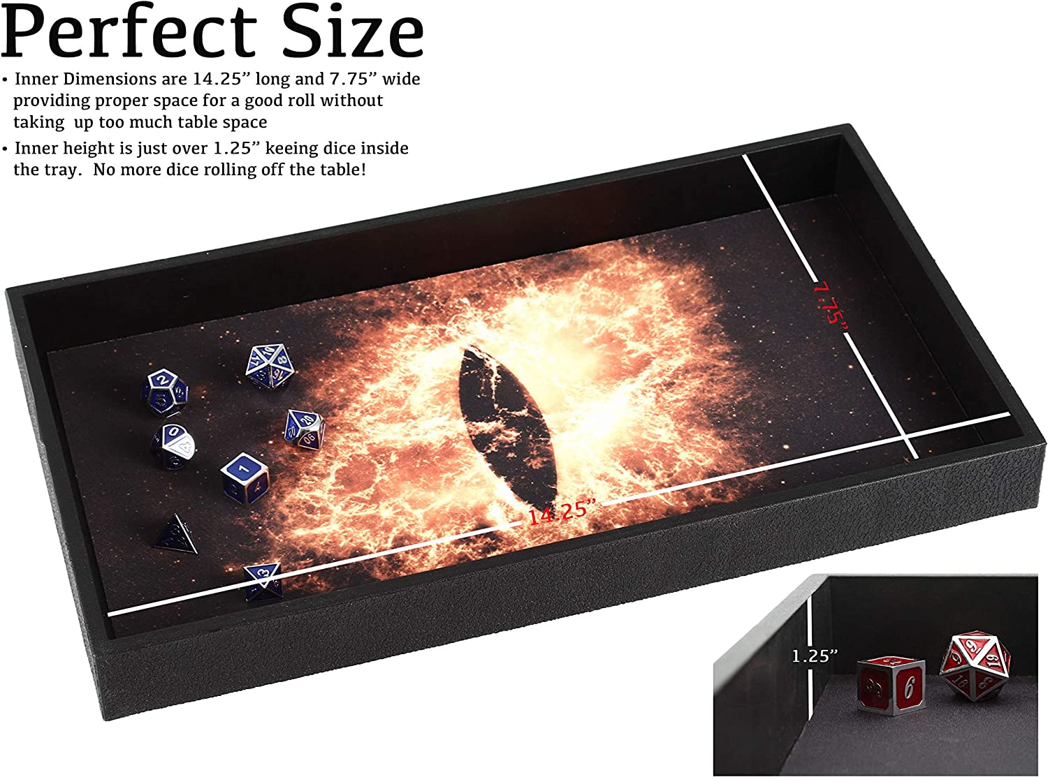 Dice Tray 14 for Any Dice or Board Game Tabletop RPGs Like D/&D Pathfinder Roleplaying Game Forged Dice Co Double Sided and Removable Neoprene Rolling Dice Mat