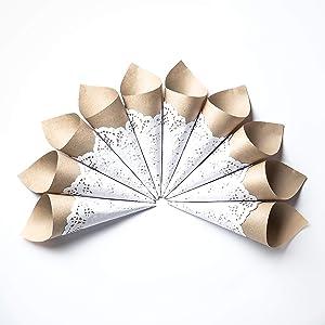 Craft Paper Petal Cones for Wedding, Already Rolled Set of 100 Cones. Craft Paper + White Paper Cones
