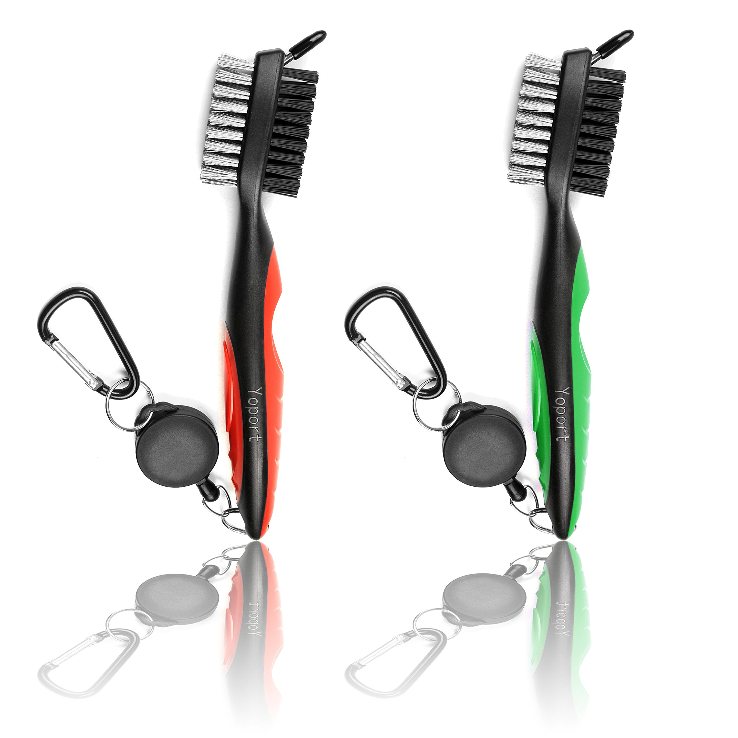 Yoport Two Pack Golf Club Brush and Club Groove Cleaner 2 Ft Retractable Zip-line Aluminum Carabiner, Lightweight and Stylish, Ergonomic Design, Easily Attaches to Golf Bag (red+Green) by Yoport (Image #1)