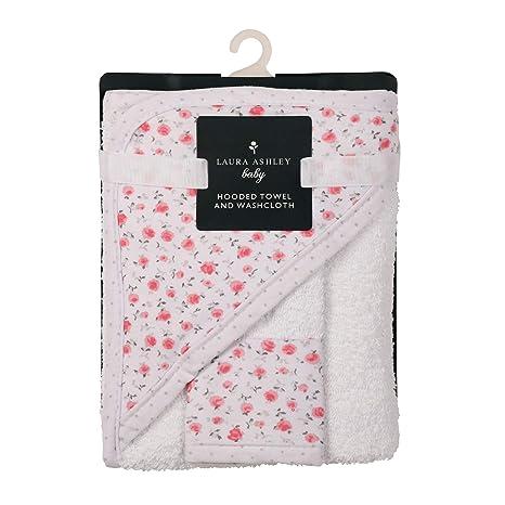 Buy Laura Ashley Infant Hooded Towel and Washcloth, Rosebuds Print ...