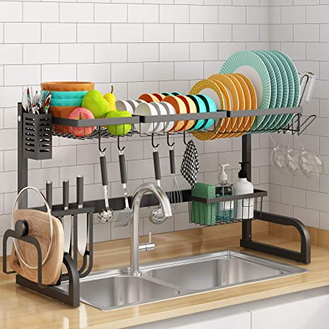 Amazon Com Over The Sink Dish Drying Rack Stainless Steel Adjustable Black Over Sink Dish Rack Drainer Over Sink Shelf For Kitchen Counter Large Tableware Drainer Shelf Over Sink 32 Sink Size