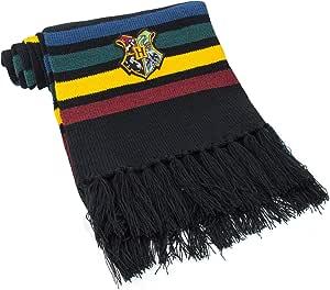 Cinereplicas - Harry Potter - Bufanda - Ultra Suave - Licencia Oficial - Hogwarts - 190 cm - Negro con Rayas Rojas, Amarillas, Verde y Azul