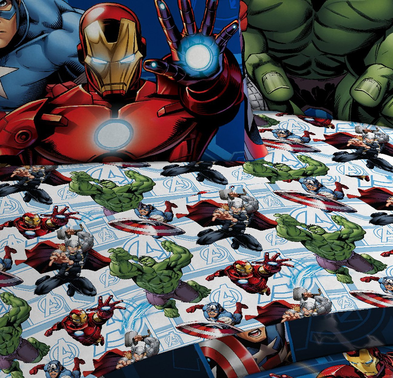 Marvel Avengers Heroic Age Blue/White 3 Piece Twin Sheet Set with Captain America, Thor, Ironman & Hulk by Marvel (Image #6)