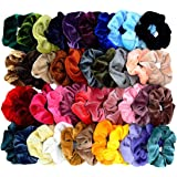 Mincheda 40 Pcs Hair Scrunchies Premium Velvet Elastic Scrunchie Hair Ties Hair Bow Chiffon Ponytail Holder Scrunchy Hair Accessories for Women Girls-40 Colors Premium Velvet
