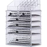 """Cq acrylic 6 Tier Clear Acrylic Cosmetic Makeup Storage Cube Organizer with 6 Drawers. It Consists of 3 Separate Organizers, Each of Which can be Used Individually-9.8""""x6.7""""x15.4"""""""