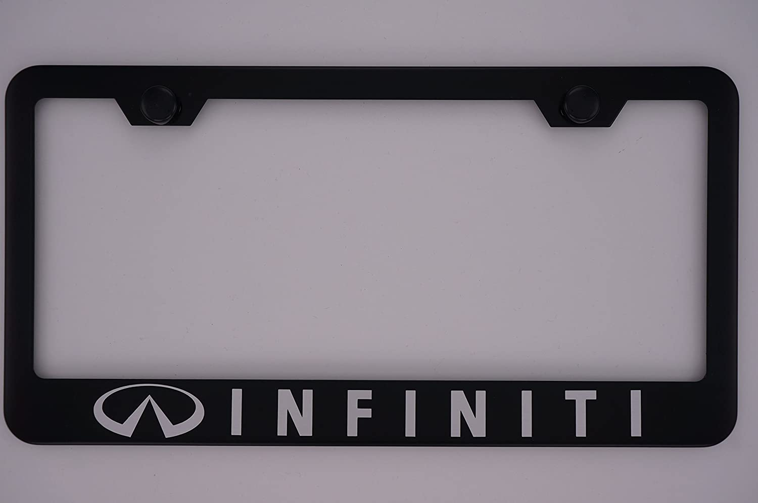 Infiniti Black License Plate Frame with Caps