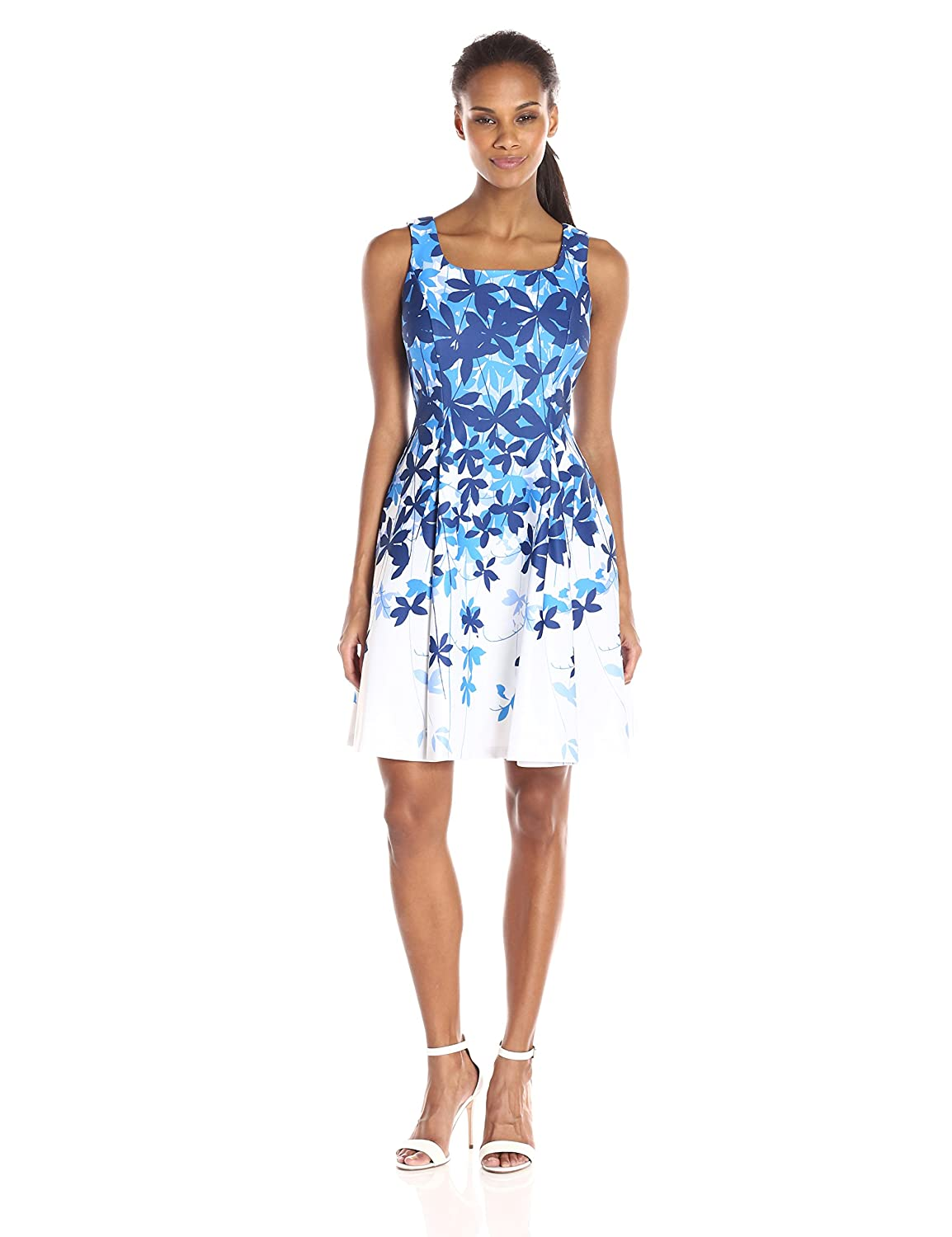 bluee Ivory Julian Taylor Womens Floral Printed Fit and Flared Dress Dress
