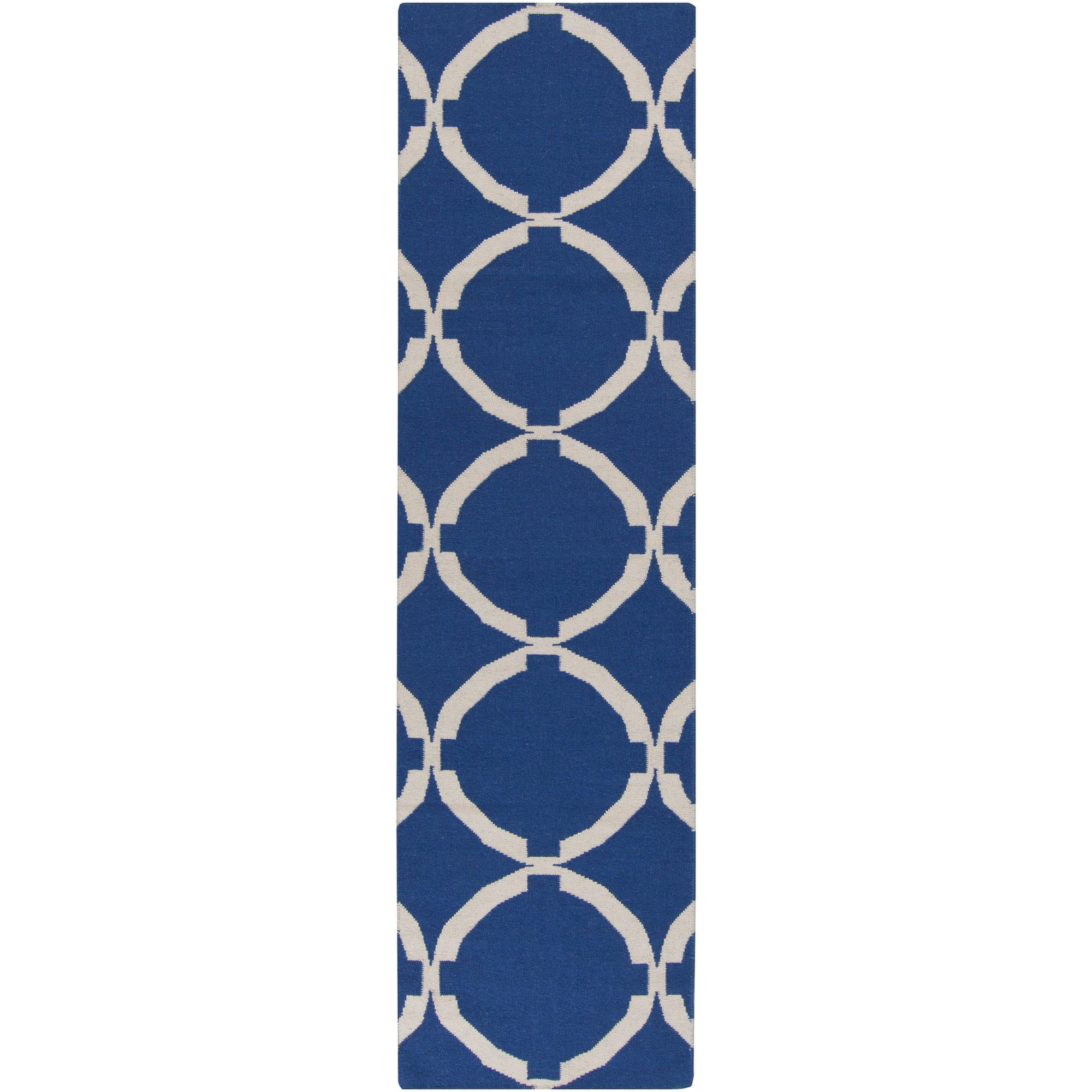 Surya FT521-268 Hand Woven Geometric Runners, 2-Feet 6-Inch by 8-Feet, Navy/Ivory