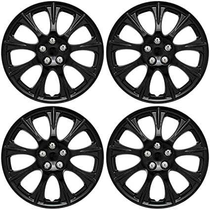 "4 Pc Set 15"" inch ICE BLACK Hub Caps Cover for OEM Steel Wheel Covers"