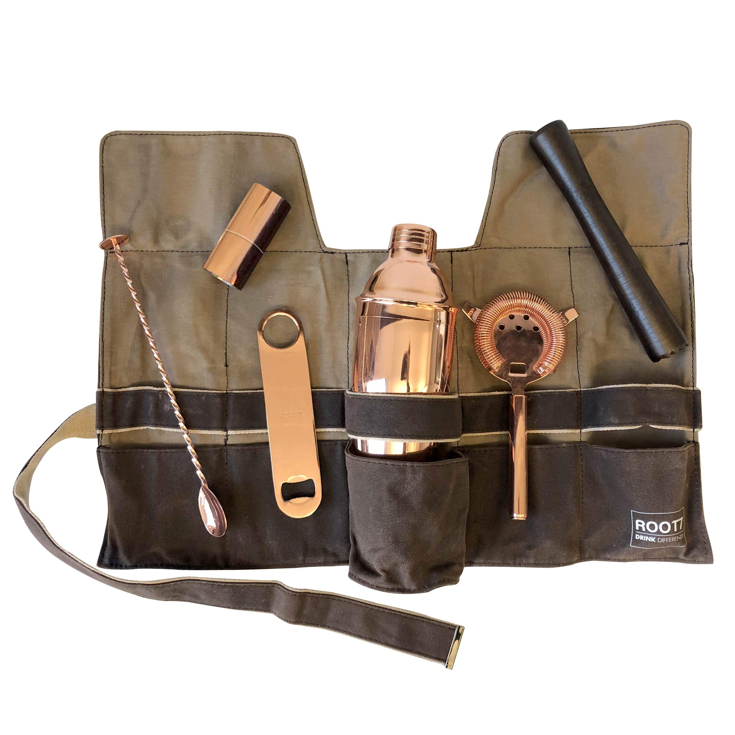 Premium Modern Copper Coated Professional Bartender Kit, Home and Workplace Cocktail Set, 19oz Shaker, Bar Blade, Jigger, Wood Muddler, Strainer, Spoon and Wax Canvas Bag by Root7 by Root7