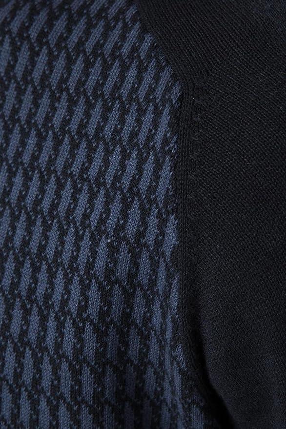 Threadbare Hombre Jersey De Punto Colonia Nuevo Pata De Gallo Diseño Suéter Pulóver Top - sintético, Azul Marino - Vaquero, 100% algodón 100% poliéster, ...