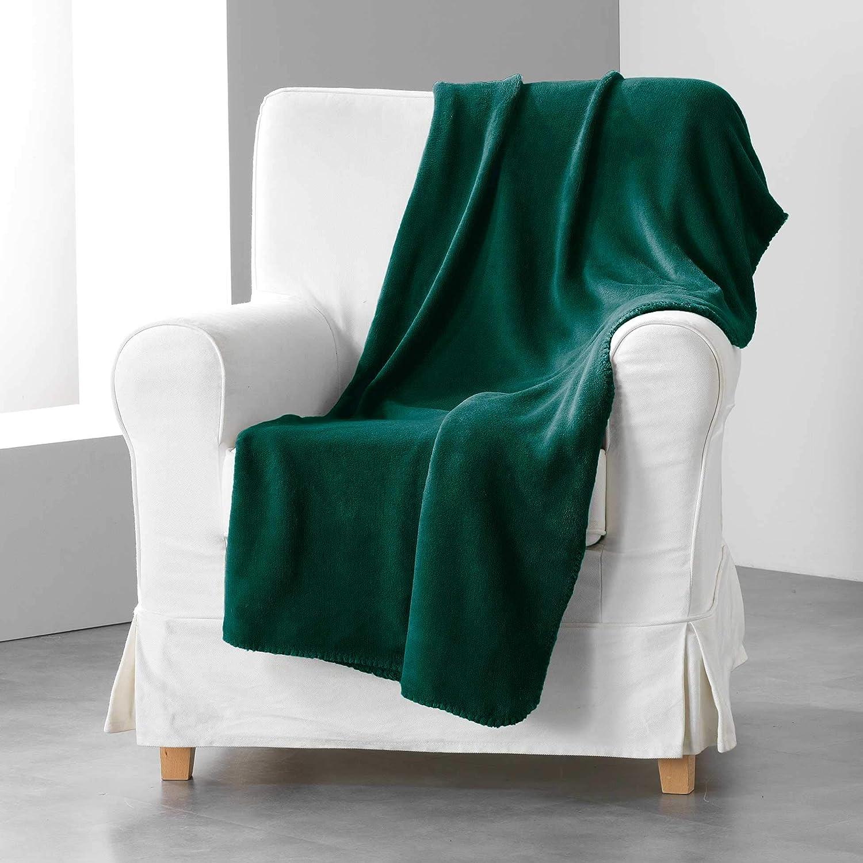 Le Jardin des Cigales Lana Jet/é de Canap/é A Franges Coton Tisse Corail 180 x 220 cm