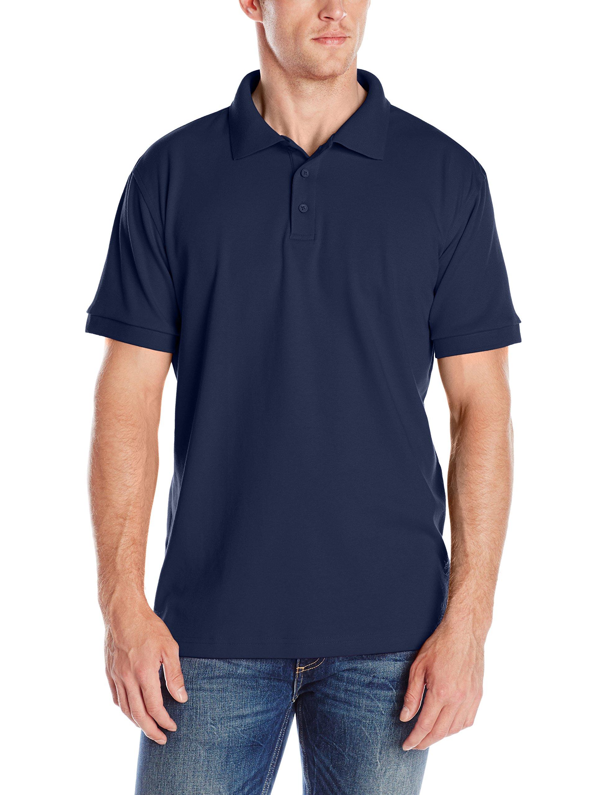 Classroom Men's Adult Unisex Short Sleeve Interlock Polo, Dark Navy, X-Large