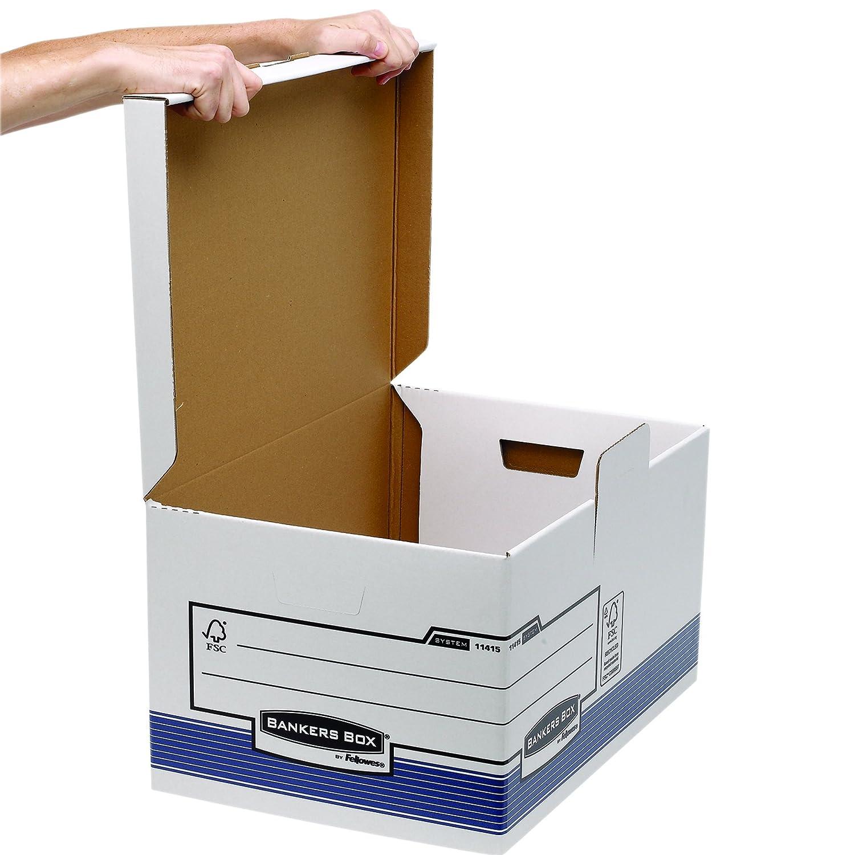 Bankers Box System - Maxi contenedor de archivos automático con tapa fija, azul: Amazon.es: Oficina y papelería