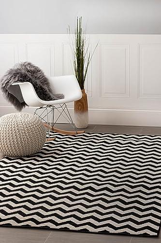 Contemporary Black Chevron Striped Rug 5-Feet by 8-Feet Designer Area Rug