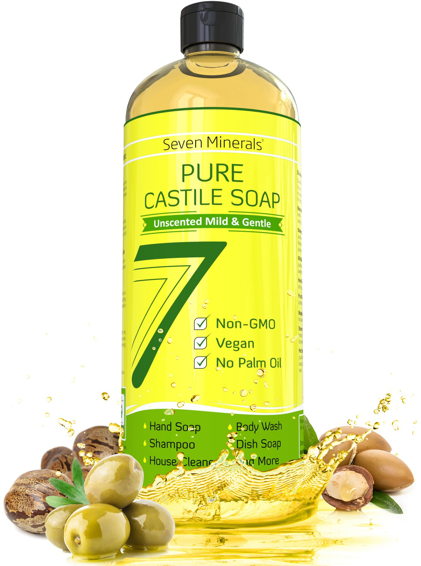Pure Castile Soap 33.8 fl oz - No Palm Oil, GMO-Free - Unscented Mild & Gentle Liquid Soap For Sensitive Skin & Baby Wash - All Natural Vegan Formula with Organic Carrier Oils by Seven Minerals