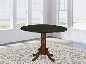 "East West Furniture DLT-BMA-TP Dublin Round Table with two 9"" Drop Leaves In Black and Mahogany Finish"
