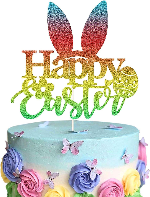 Happy Easter Glitter Cake Topper, Bunny Ears Cake Topper, Easter Egg Decor, Easter Party Decorations Easter