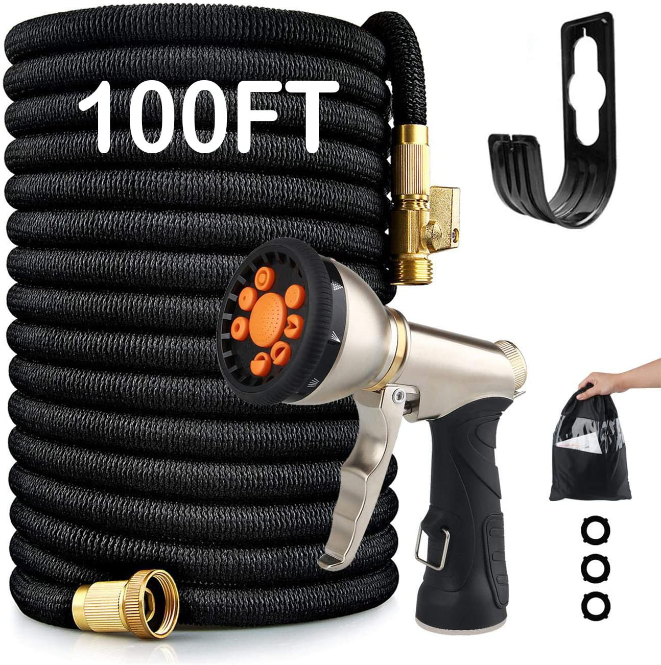 Expandable Garden Hose 100FT - 9 Function Heavy Duty Garden Spray Nozzle with 3/4 Brass Connectors for Courtyard & Car Wash (Black, 100FT)