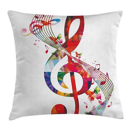 DDOBY Funda de cojín Music Throw Pillow, Ilustraciones con ...