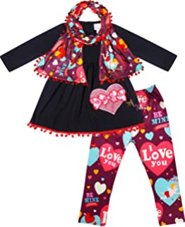Mutiggee Valentine Day Toddler Girls Ruffle Tunic Dress with Infinity Scarf