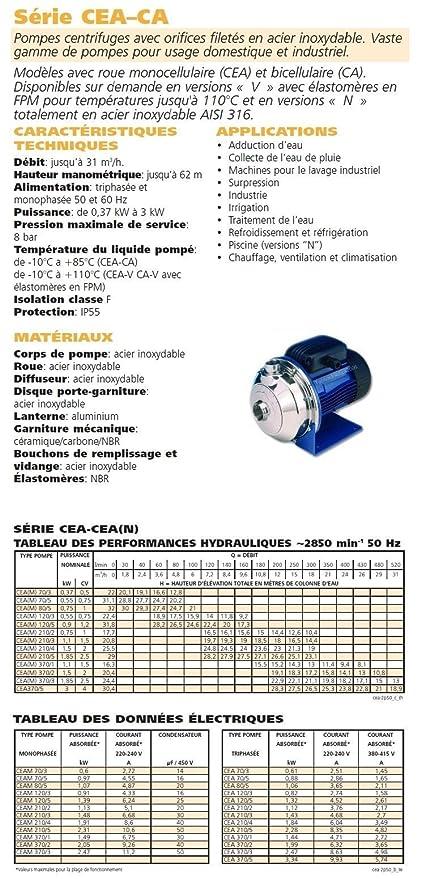 Lowara CEA Kreiselpumpen 1.4404 CEA370/1N/D 1,1KW 1,5HP 3x230/400V 50HZ:  Amazon.de: Küche U0026 Haushalt