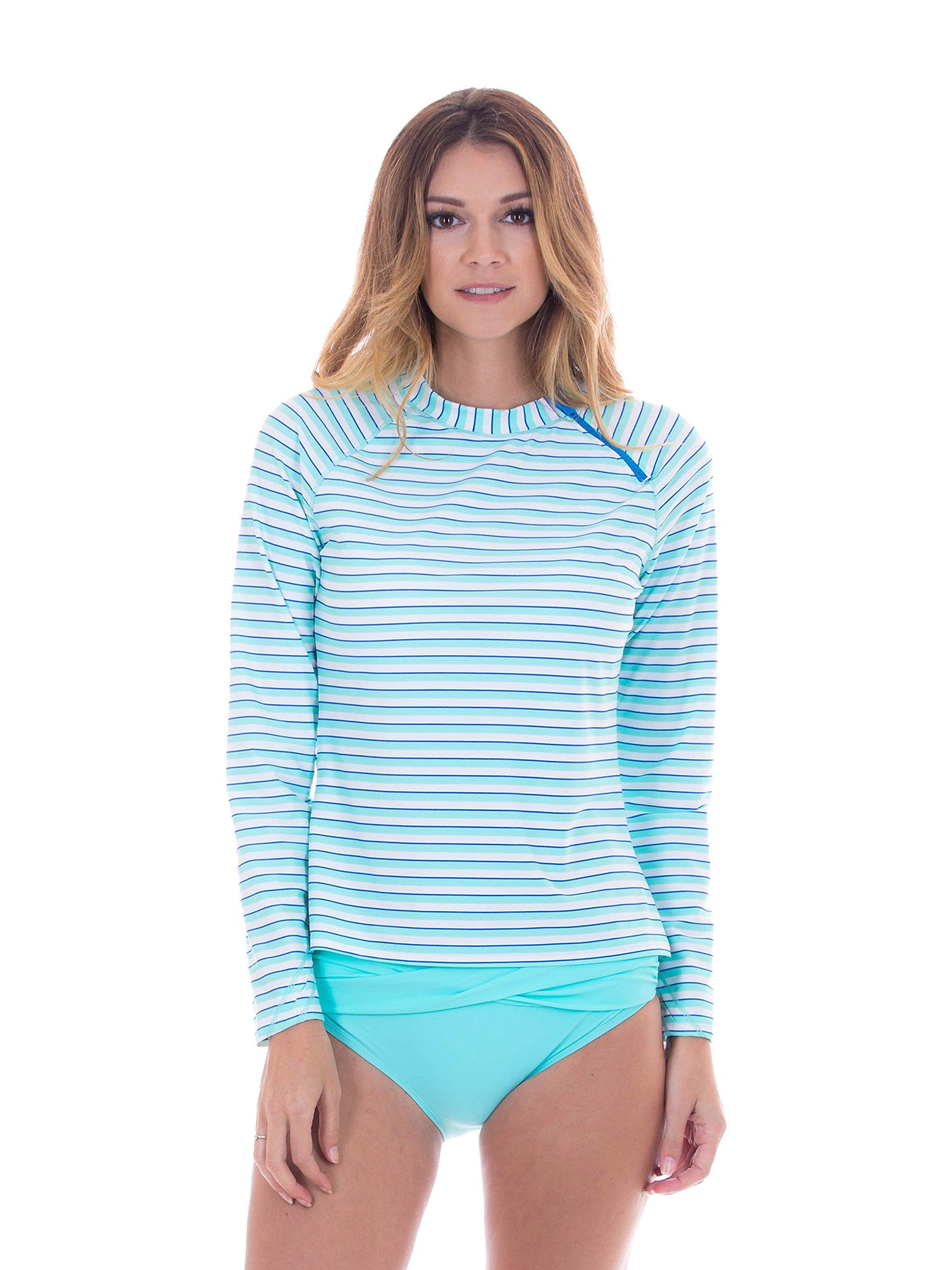 Cabana Life Women's Long Sleeve Zipper Rashguard - Medium - Aqua Double Stripe