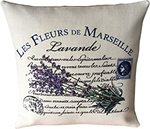 43LenaJon Personalized Pillowcase Marseille Lavender Pillow Cover Rustic French Country Botanical Present Home Decor