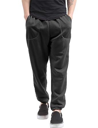 22471887a2c186 Hat and Beyond Mens Fleece Sweatpants Lightweight Elastic Jogger Loss Fit  Drawstring Pants (1ih02_Black,