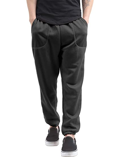 c5b2beb506a Hat and Beyond Mens Fleece Sweatpants Lightweight Elastic Jogger Loss Fit  Drawstring Pants (1ih02 Black