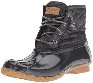 Sperry Women's Saltwater Nylon Quilt Rain Boot, Dark Grey, 9 M US
