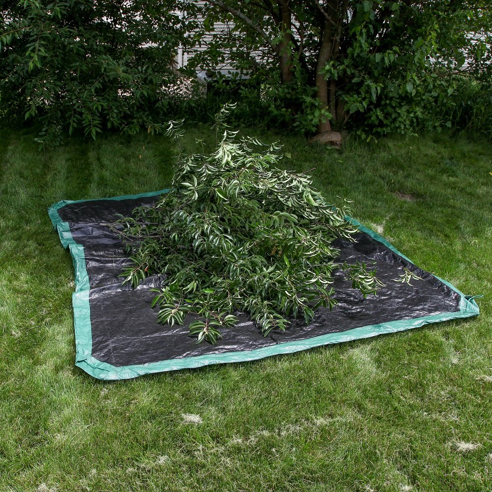 Shefko 0-99393-10909-4 Yard Tarp 8.2 X 8.2 - Versatile Drawstring Tarp for Yard Clean Ups - Convenient and Handy - Formed Into an Instant Dragging Bag - Ideal as BBQ Grill and Outdoors Furniture Cover by Shefko (Image #8)