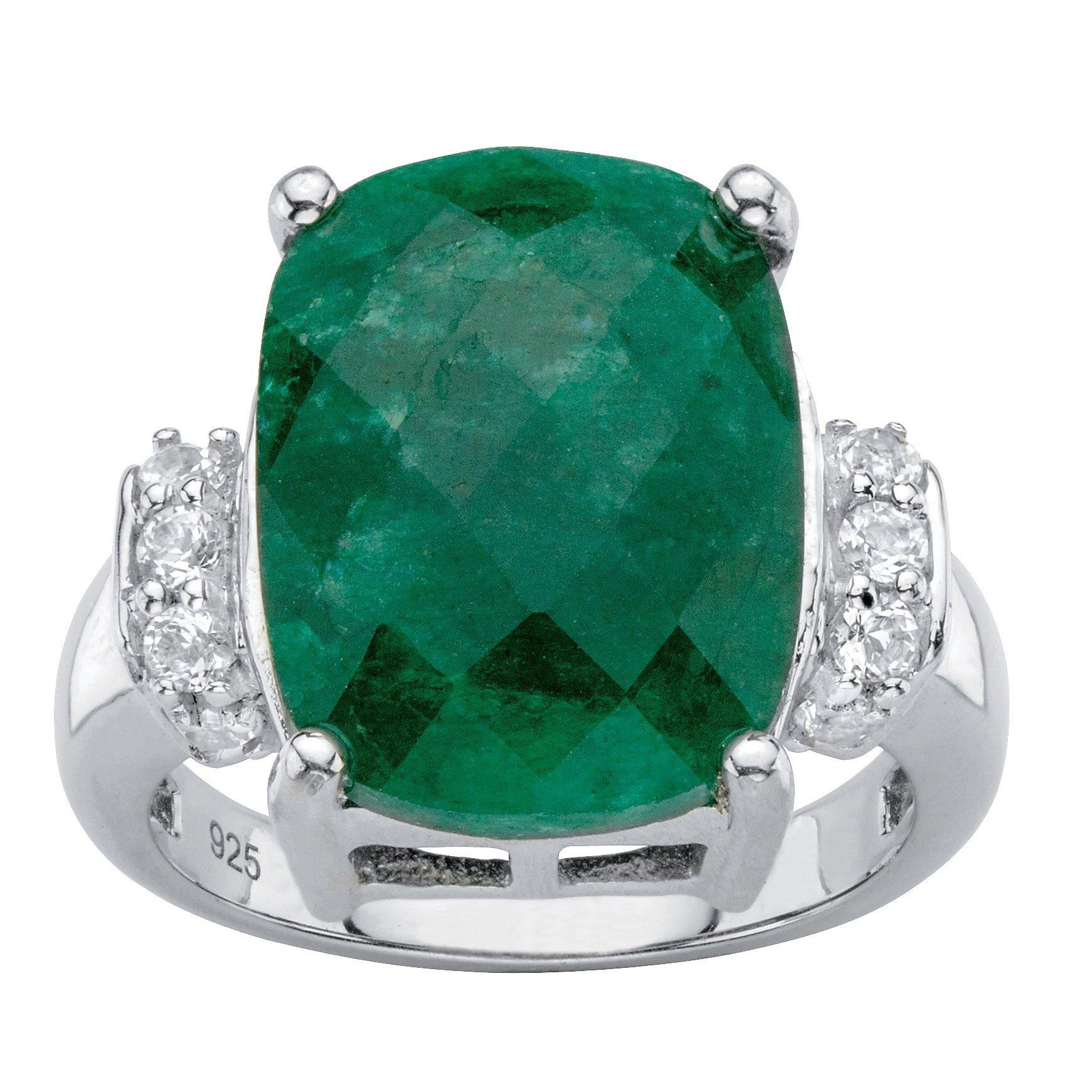 Platinum over .925 Silver Cushion Cut Genuine Emerald and White Tanzanite Ring Size 10