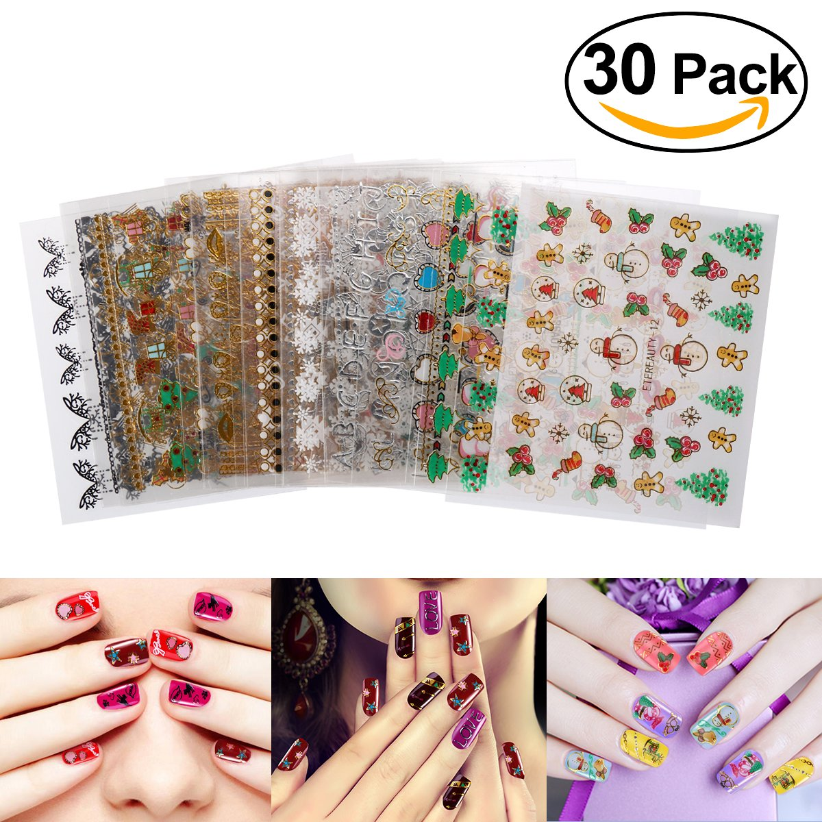 Etereauty nail art stickers decals christmas designs hearts sale black round glasses panto johnny depp style vintage prescription frames woman mens hipster nerd prinsesfo Choice Image