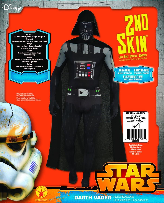 Rubies s oficial de Darth Vader Adulto Disfraz de segunda piel - 1,60 m/1,80 m: Amazon.es: Juguetes y juegos