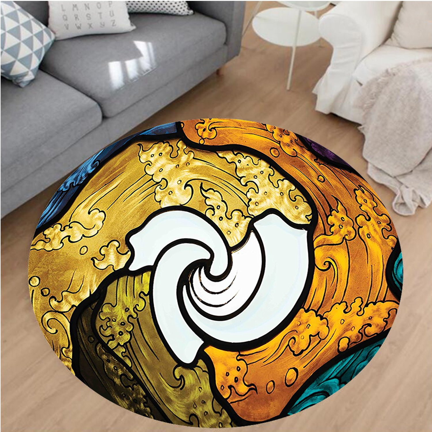 Nalahome Modern Flannel Microfiber Non-Slip Machine Washable Round Area Rug-Pop Art Style Funky Unusual Stained Glass Window Thai Art Pattern Traditional Image Multi area rugs Home Decor-Round 67'' by Nalahome