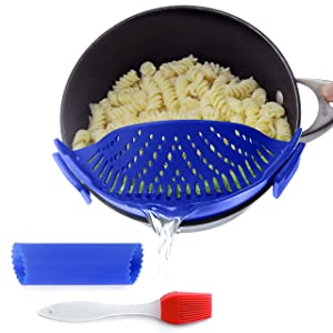 Clip-on kitchen food strainer for spaghetti, pasta, and ground beef grease, colander and sieve snaps on bowls, pots and pans, Set includes silicone strainer brush & garlic peeler by Salbree, Dark Blue