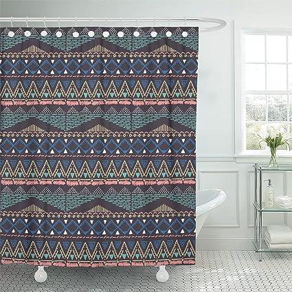 Ashleyallen Shower Curtain White Navajo Ethnic Hand Drawn Pattern Aztec 60 X 72 Inches