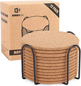 Pack of 12 Absorbent Cork Coasters with Holder, Heat-Resistant Cup Mat Set,Reusable Round Drink Coaster Fits for Mug,Coffee Cup, Hot or Cold Drinks and Beverages