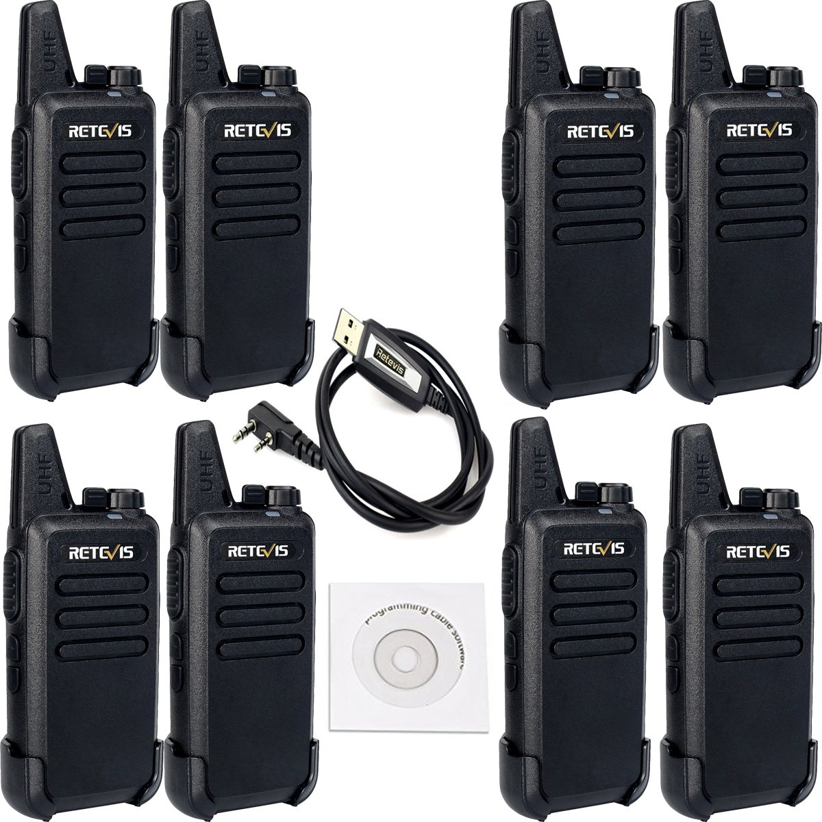 Retevis RT22 Two Way Radio Rechargeable UHF 400-480MHz 16 CH CTCSS/DCS VOX Walkie Talkies(8 Pack) and Programming Cable(1 Pack) by Retevis